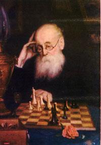 Гроссмейстер Мясоедов играет в шахматы