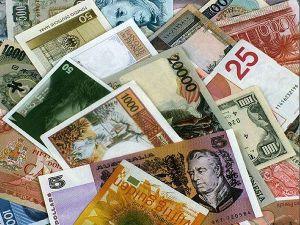 Денежные банкноты в музее денег