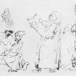 Лермонтов. Благословение молодых. Тушь, перо. 1835.