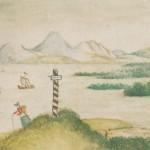 Кавказский пейзаж с озером, детский рисунок Лермонтова из альбома.