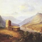 1837. Картина М. Ю. Лермонтова. Картон, масло. Военно-Грузинская дорога.