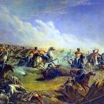 Картина Лермонтова. Русские гусары в наступлении на Варшаву 7 сентября 1831.