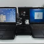 Джойстик и два ноутбука в музее техники apple